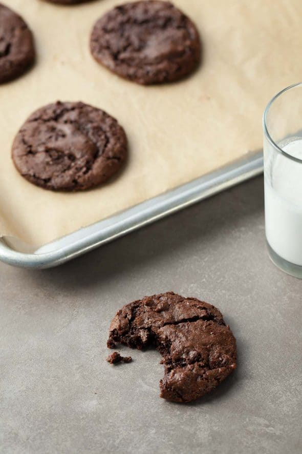 Double Chocolate Cocoa Cookies (Vegan, Paleo) - A dark and chewy cocoa cookie with big chunks of chocolate.