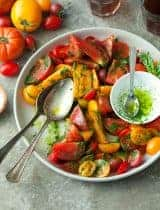 Heirloom Tomato Salad with Basil Parsley Oil