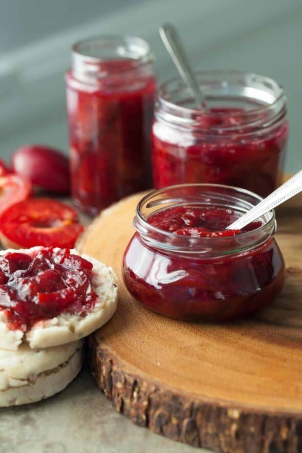 Oven Roasted Plum Cardamom Jam (Paleo, Refined Sugar-Free) - A naturally sweetened and delicately spiced sweet/tart plum spread that's easily made in the oven.