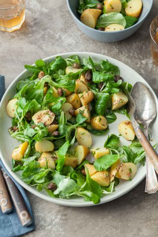 Potato Mache Salad with Fried Capers (Paleo, Vegan)