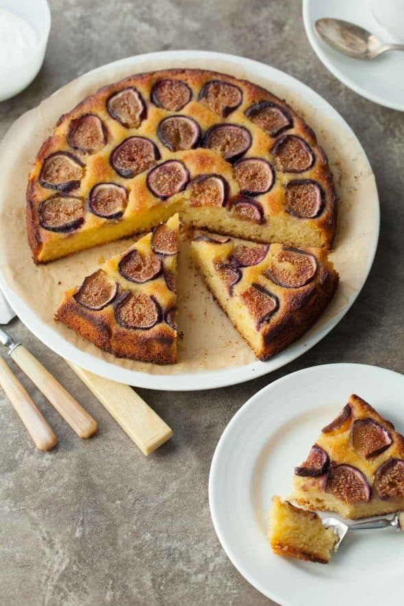 Gluten-Free Fig Almond Olive Oil Cake on Serving Plate
