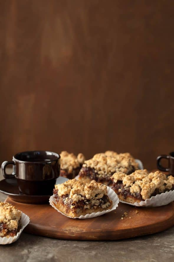 Gluten-Free Pecan Date Squares with Coffee Cups