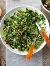 Shredded Brussels Sprouts and Kale Salad with Maple-Dijon Dressing