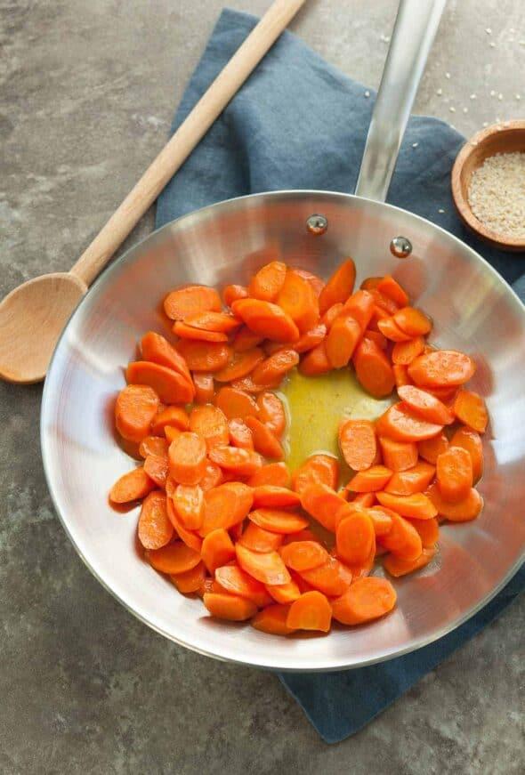 Ginger Glazed Carrots in Skillet