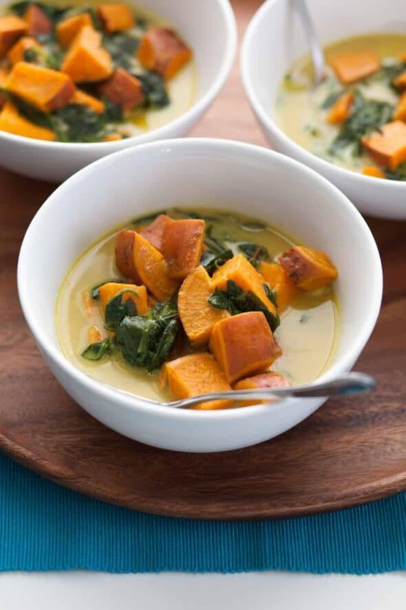 Thai Style Coconut, Sweet Potato and Spinach Soup