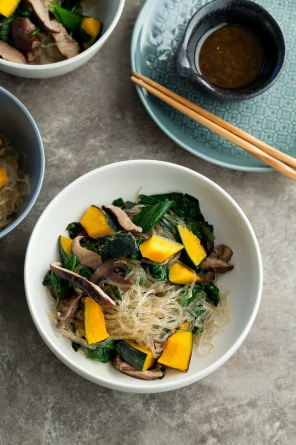 Kelp Noodle Vegetable Japchae (Paleo, Vegan) - A healthy and easy kelp noodle dish with a medley of mushrooms and vegetables and a savory-sweet sauce.