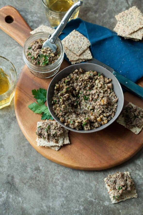 Roasted Mixed Mushroom Pâté (Paleo, Vegan) on Board with Crackers