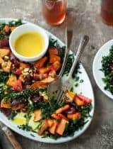 Roasted Root Vegetable Kale Salad with Creamy Turmeric Dressing (Paleo, Vegan)
