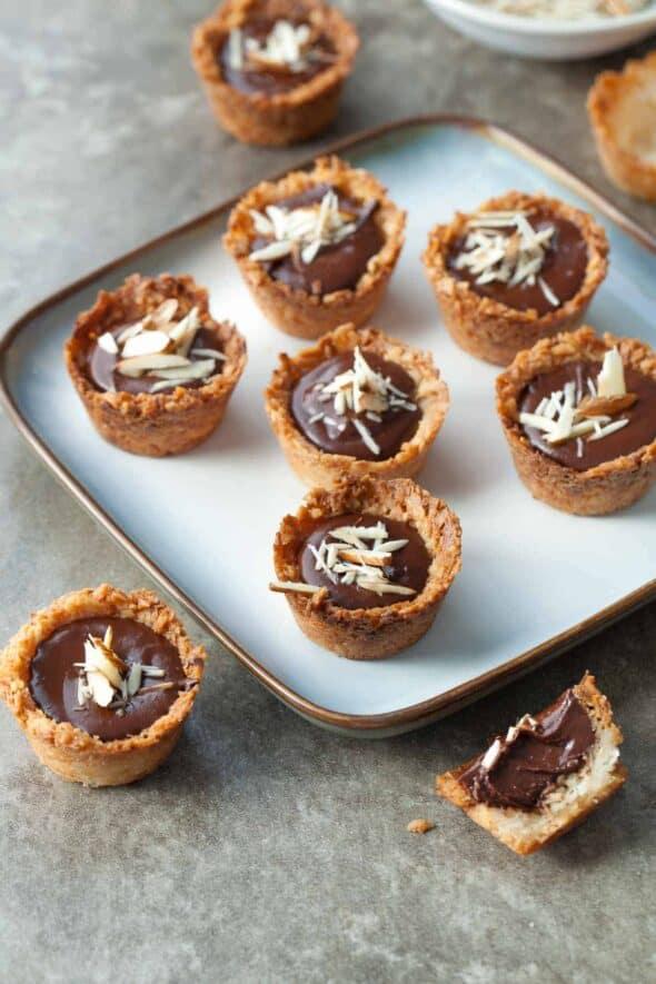 Chocolate Almond Coconut Macaroon Cups on Plate