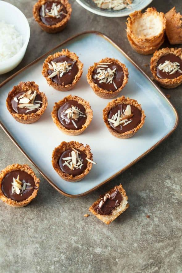 Chocolate Almond Coconut Macaroon Cups on Square Plate