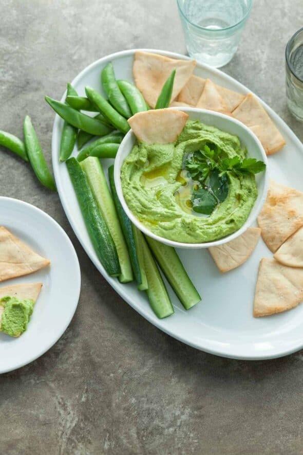 Spicy Green Almond Hummus in Bowl with Vegetables