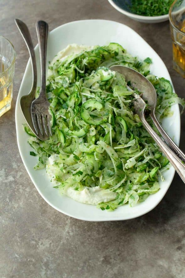 Shaved Celery Cucumber and Fennel Salad on Plate with Forks