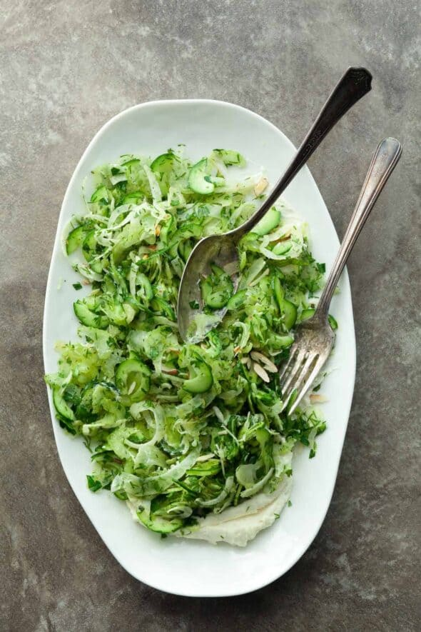 Shaved Celery Cucumber and Fennel Salad on Serving Plate with Spoon