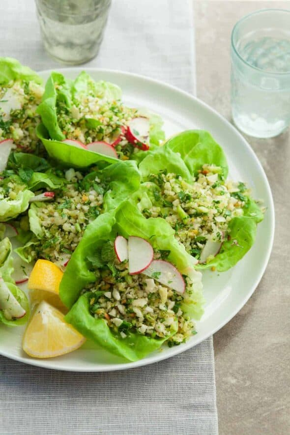 Broccoli Cauliflower Couscous Lettuce Cups