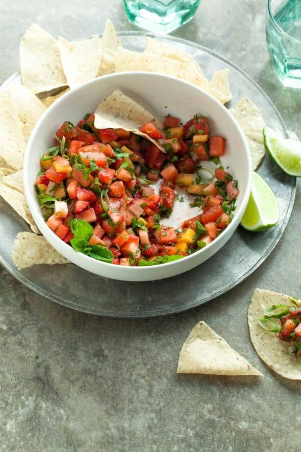 Strawberry Melon Salsa Fresca - A sweet and savory fruit-filled salsa, perfect for warm-weather parties, picnics, and barbecues. #recipe #healthy