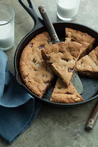 Chocolate Chip Macadamia Skillet Cookie Recipe