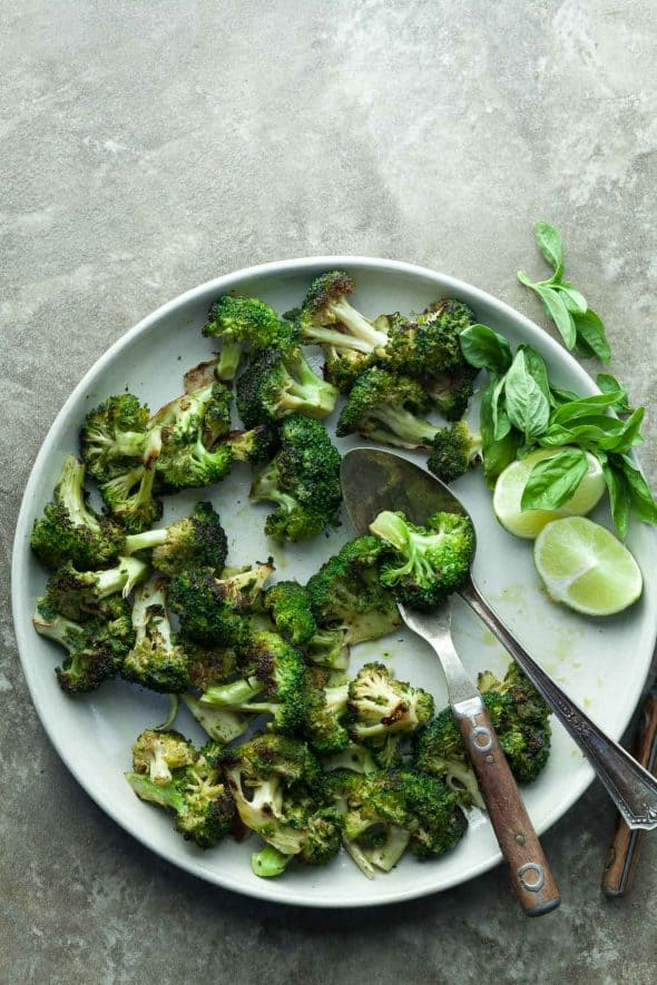 Grilled Basil Broccoli on Plate with Serving Spoon