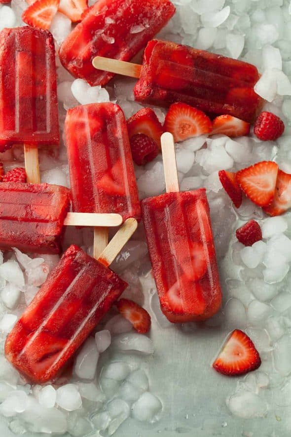 Red Berry Rose Hip Iced Tea Popsicles on Ice