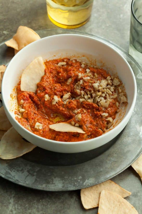 Roasted Red Pepper and Walnut Dip in Bowl with Chips