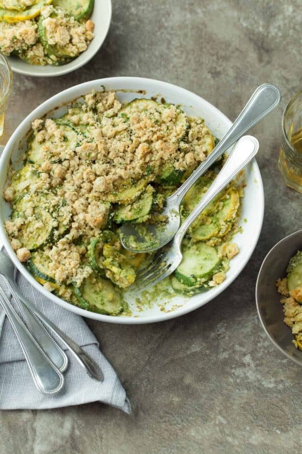 Gluten-Free Summer Squash and Zucchini Gratin in Baking Dish