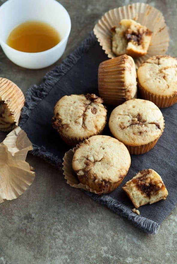 Paleo Cinnamon Swirl Pancake Muffins on Grey Napkin