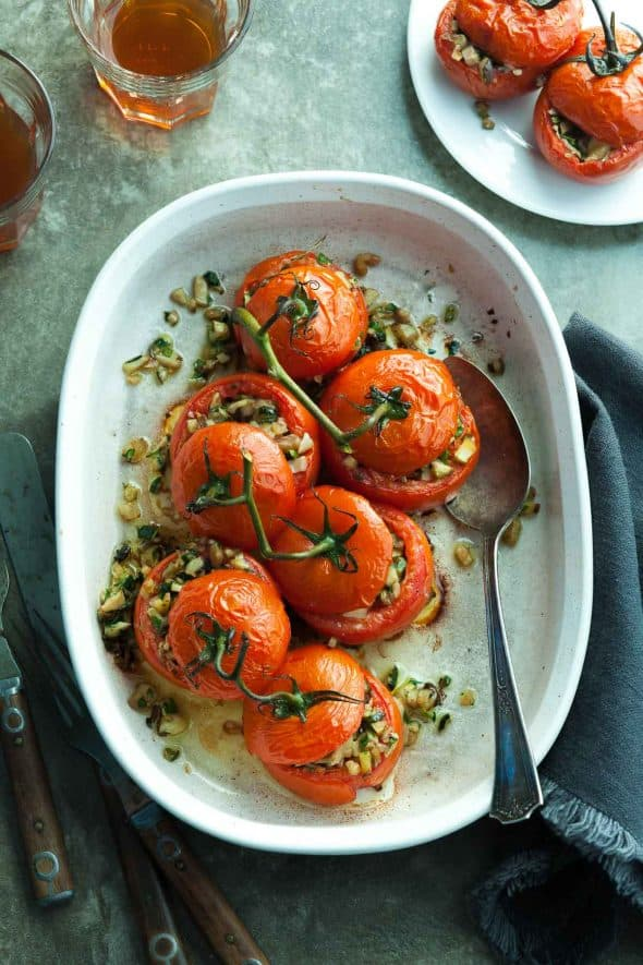 Zucchini and Mushroom Stuffed Tomatoes