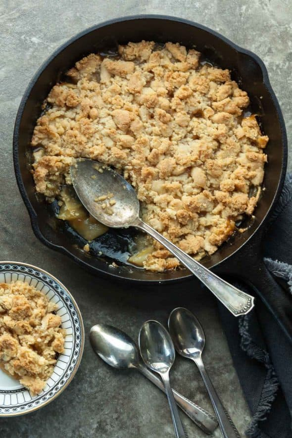 Caramel Apple Crumble in Skillet with Spoon