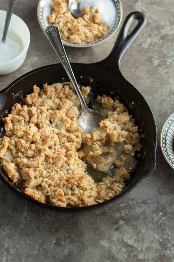 Caramel Apple Crumble in Skillet