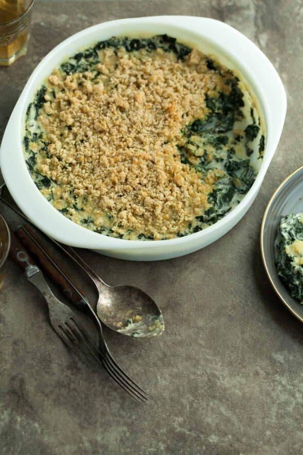 Creamed Kale Gratin in Casserole DIsh