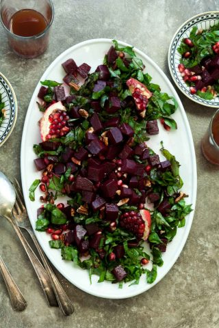 Pomegranate Glazed Beet and Greens Salad (Paleo, Vegan)