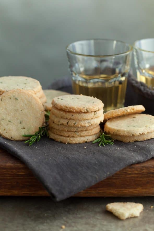 Rosemary and Pecorino Sables (Gluten-Free) - These buttery, melt-in-your-mouth gluten-free Pecorino cheese and rosemary sablés are easy to make and disappear quickly! #crackers #sables #pecorino #glutenfree