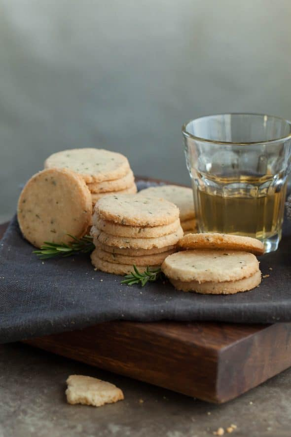 Rosemary and Pecorino Sables with glass of wine