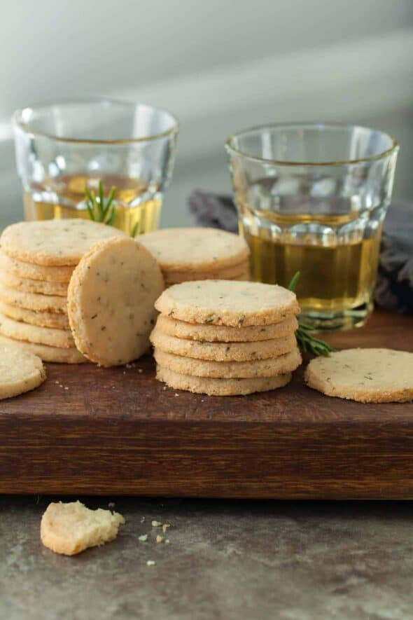 Rosemary and Pecorino Sables (Grain-Free) - These buttery, melt-in-your-mouth gluten-free Pecorino cheese and rosemary sablés are easy to make and disappear quickly! #crackers #sables #holidayrecipes #newyearseve