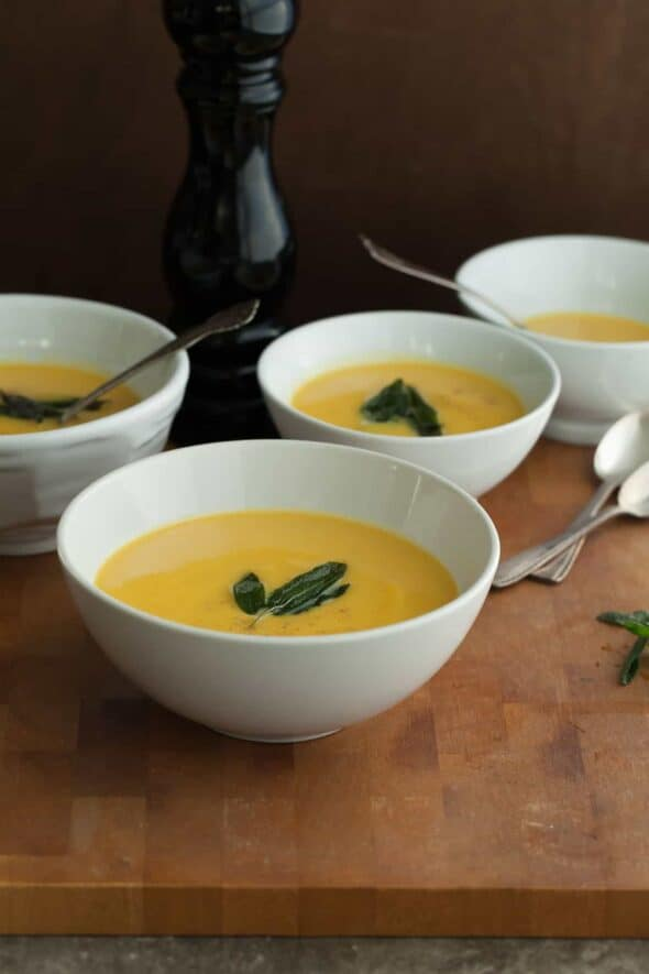 Golden Winter Root Vegetable Soup in Bowls