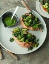 Roasted Broccoli Stuffed Sweet Potatoes with Green Tahini Sauce (Paleo, Vegan)