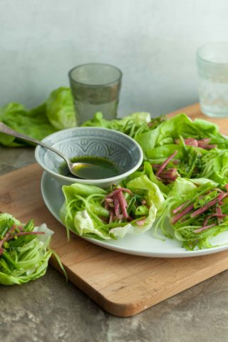 Spring Lettuce Cups with Snap Pea Radish Slaw and Cucumber Noodles (Paleo)