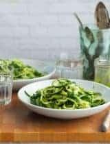 Zucchini Noodle Pistachio Pesto Primavera (Paleo,Vegan)