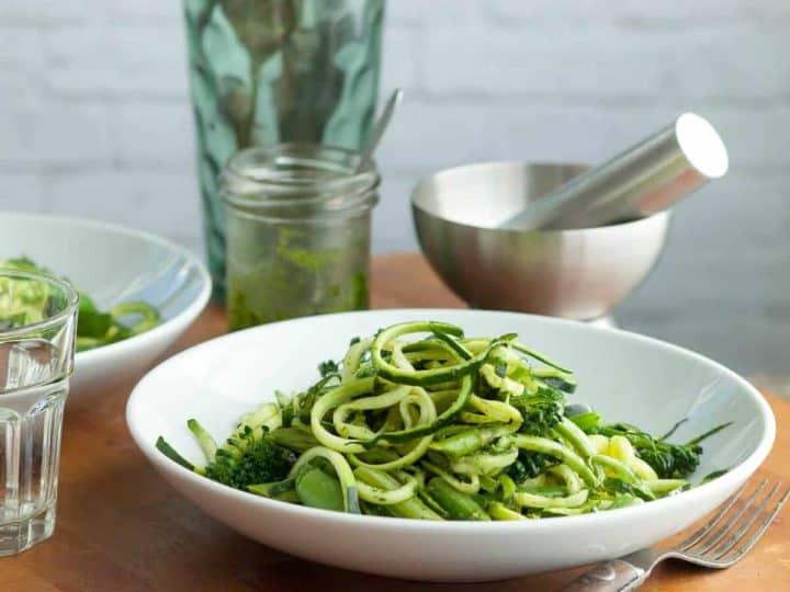 Zucchini Noodles Pistachio Pesto Primavera (Vegan)