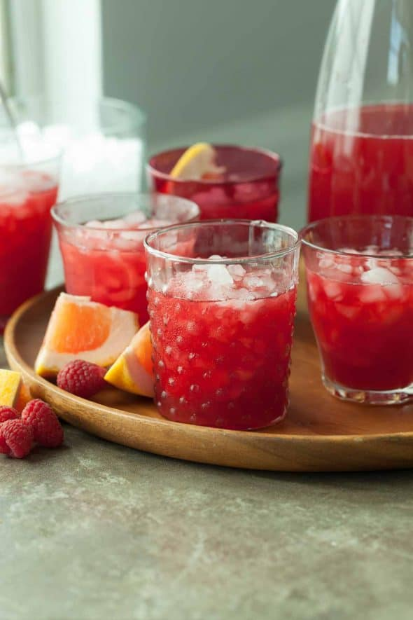 Raspberry Rooibos Grapefruit Iced Tea in Glasses