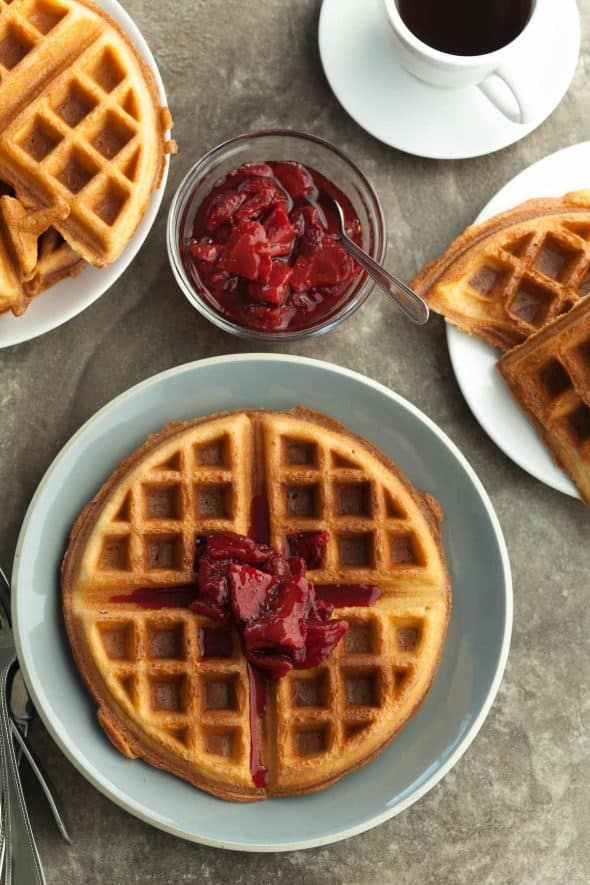 Gluten-Free Blender Waffles with Roasted Strawberry Sauce on Plates