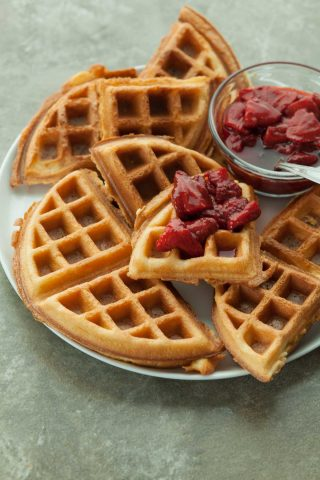 Gluten-Free Blender Waffles with Roasted Strawberry Sauce (Paleo)
