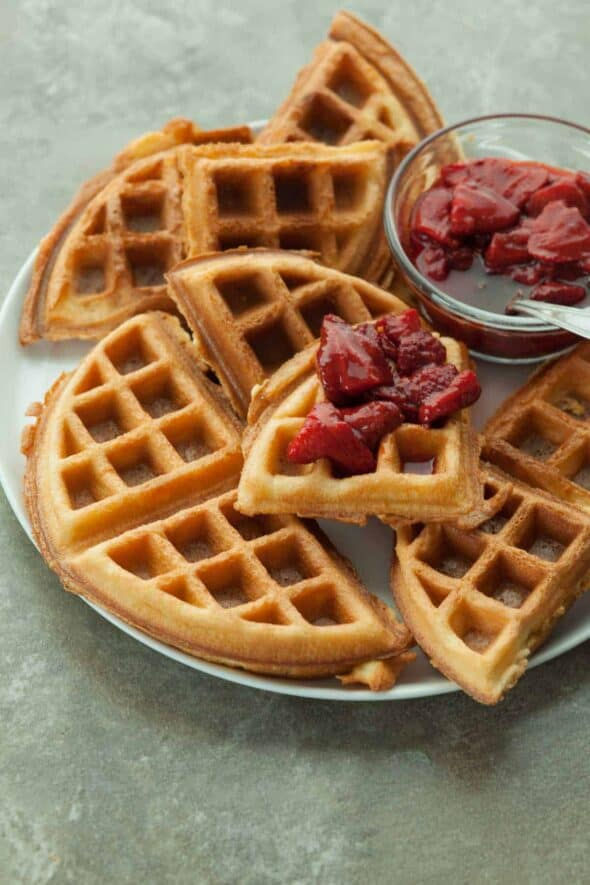 Gluten-Free Blender Waffles with Roasted Strawberry Sauce on Top