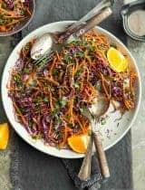 Carrot Cabbage Slaw with Orange Sesame Dressing (Paleo, Vegan)