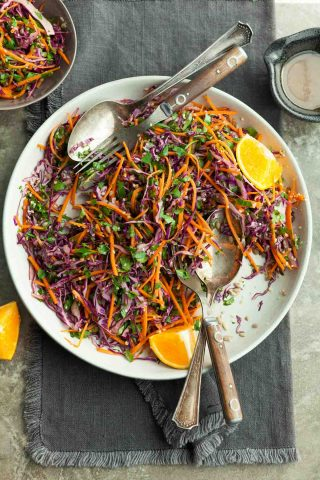 Carrot Cabbage Slaw with Orange Sesame Dressing (Paleo, Vegan)