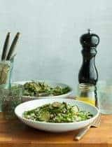 Mediterranean Cauliflower Couscous Salad with Sautéed Zucchini and Asparagus (Paleo, Vegan)