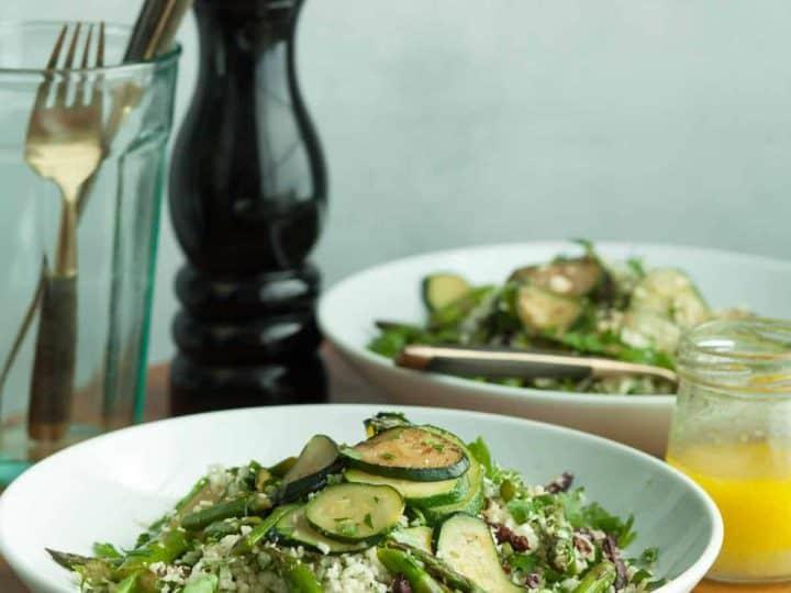 Mediterranean Cauliflower Couscous Salad with Zucchini and Asparagus (Gluten-Free)