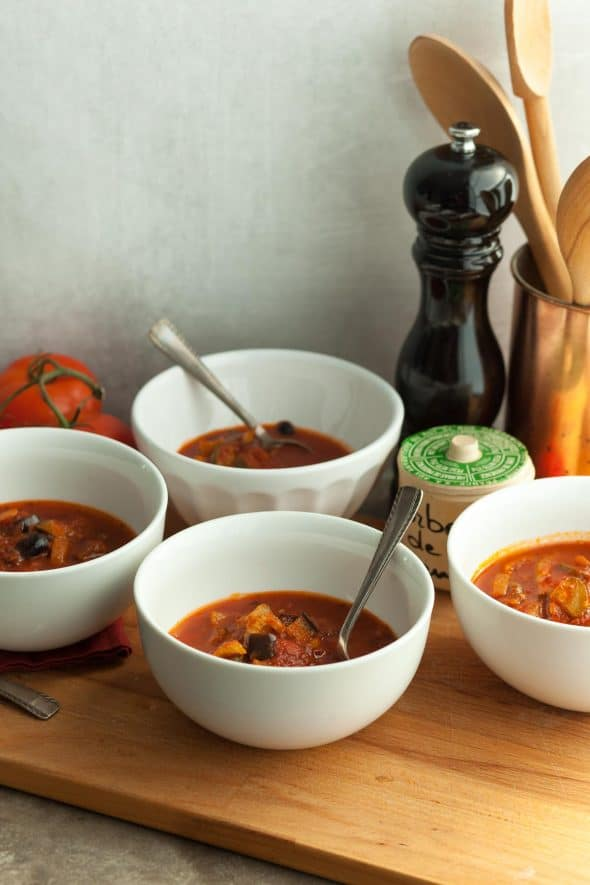 Paleo Vegan Provençal Tomato Vegetable Soup in White Bowls with Spoons