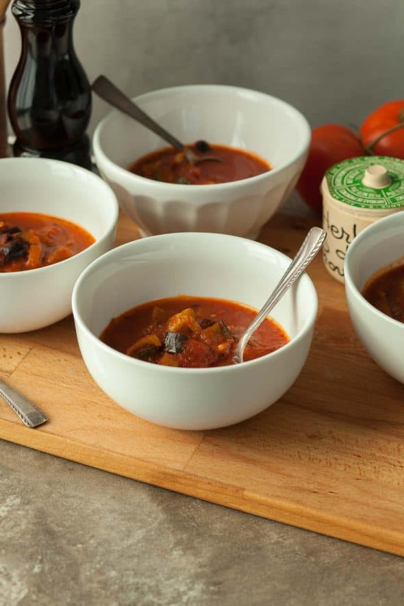 Provençal Tomato Vegetable Soup Recipe in Bowls on Wood Board