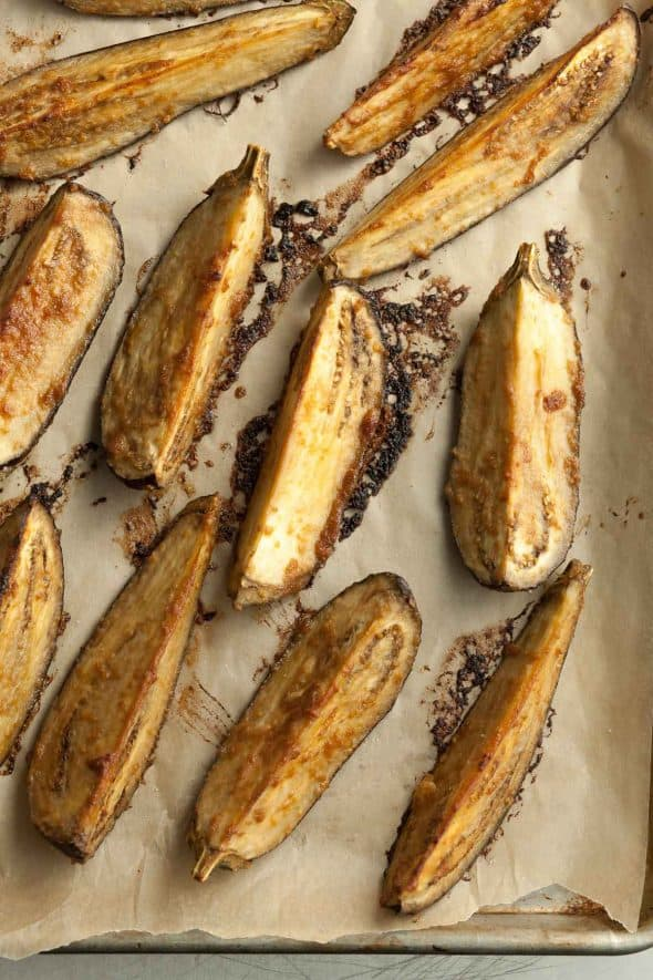 Tahini and Miso Eggplant Wedges on Sheet Pan