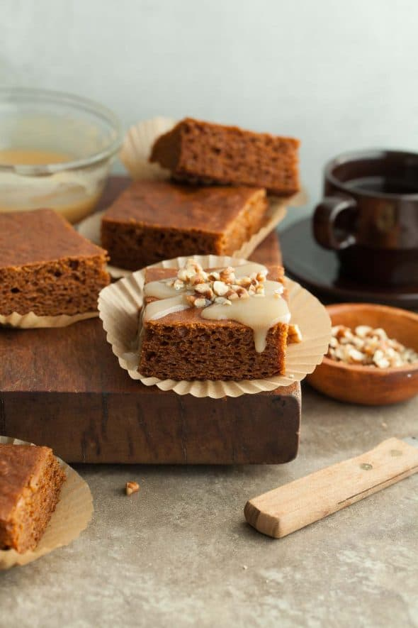 Pumpkin Spice Bars Topped with Maple Glaze